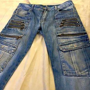 Unknown Denim Zipper Pocket Moto Style Jeans Japan